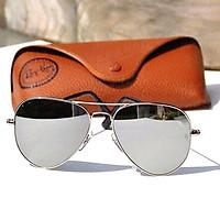 Kính râm nam nữ thời trang gọng kim loại mắt kính thủy tinh tráng gương cao cấp chống tia UV