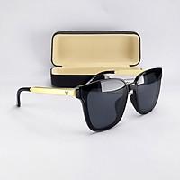 Mắt kính nữ form vuông chữ V màu đen gọng vàng, tròng Polaroid phân cực chống tia UV. mã DKY6035D