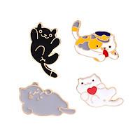 Bộ 4 huy hiệu mèo con,ghim trâm trang sức zan89