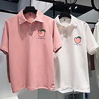 Áo thun Polo Nam Nữ Unisex tay lỡ cổ bẻ áo phông trơn ngắn tay in hình trái Đào vải thun tici không nhăn, cực mát