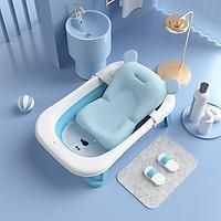 Chậu tắm cho bé, Chậu tắm gấp gọn cho bé sơ sinh, tặng nhiệt kế cá, kèm phao tắm, lưới tắm babyjoymart