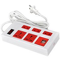 Ổ cắm Điện Quang ECO ĐQ ESK 2WR 5ECO 2A (5 lỗ, dài 2 mét , màu trắng đỏ , 2 cổng USB 2.0A)