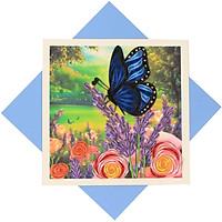 Thiệp Chúc Giấy Xoắn Thủ Công (Quilling Card) Vườn Hoa Hồng & Hoa Lavender - Tặng Kèm Khung Giấy Để Bàn