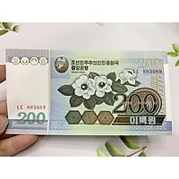 Tờ tiền 200 Won của Bắc Triều Tiên hình bông hoa -  tặng phơi nylon bảo quản tiền