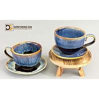 Bộ cốc cà phê capuchino men hỏa biến vẽ sen