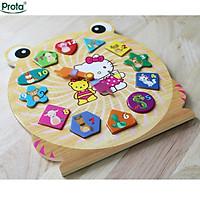 Đồng hồ gỗ ghép hình cao cấp Prota dành cho bé gái + quà tặng bộ 12 thẻ ghép hình