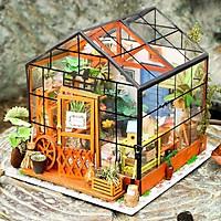 Đồ chơi lắp ráp gỗ 3D Mô hình DIY Doll House Kit Cathy is Flower House kèm đèn LED