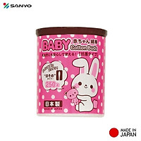 Hộp tăm bông kháng khuẩn Sanyo ( 250 que ) 100% Bông gòn tự nhiên - made in Japan
