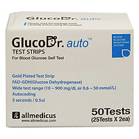 Hộp 50 Que Thử Đường Huyết Gluco Dr
