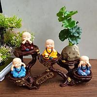 Bộ tượng 4 chú Tứ Không đeo chuỗi 5cm kèm chậu đá và chân đế ánh vàng