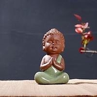 Tượng Phật Gốm Xanh Ngọc Ngồi Thiền