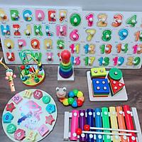 Combo 9 món đồ chơi gỗ cho bé phát triển trí tuệ