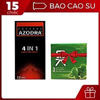 [Hộp 12 cái] Bao cao su Azodra 4 in 1 - Kéo dài thời gian kèm bao cao su OKHQ Bạc hà