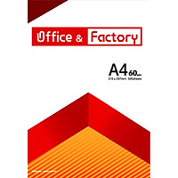 Giấy In cao cấp O&F (Office & Factory), size A4, định lượng 60gsm, 500 tờ/ Ream