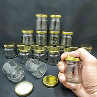 combo 12 lọ thủy tinh nhỏ 50ml mẫu Trụ Tròn nắp thiếc vàng vặn - hũ 50ml đựng mật ong, sữa ong chúa, thực phẩm, mỹ phẩm