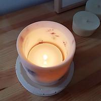Bộ 3 sản phẩm: đế đỡ nến + nến thơm sáp đậu nành hương hoa lavender + tealight trang trí hoa salem tím
