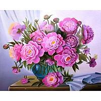 Tranh sơn dầu số hoá tự tô đã căn sẵn khung 40x50 cm (painting by number) - DZ687 Hoa Hồng tím