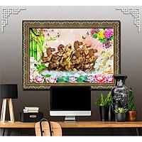 Bức tranh ngựa treo tường bát mã - MÃ ĐÁO THÀNH CÔNG chất liệu in vải lụa hoặc giấy ảnh bóng gương Mã số:L8F-00401280L8