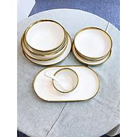 26 món bộ chén bát sứ trắng viền vàng phong cách châu âu dùng trong bộ bàn ăn