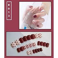 Bộ 24 móng tay giả nail thời trang họa tiết bắt mắt chống thấm nước (E013)