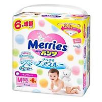 Bỉm - Tã quần Merries size M58+6 nội địa thêm miếng (Cho bé 6 - 11kg)