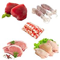 Combo 89: 500gr Cá ngừ cắt lát + 1kg Mực trứng làm sạch + 500gr Ba chỉ bò Mỹ cuộn + 1kg Cốt lết heo + 1kg Cánh gà khúc giữa