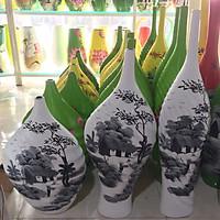 Bộ 3 bình hoa sơn mài gốm sứ Bát Tràng hàng vẽ tay cao cấp