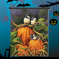 """12.5"""" x 18"""" Chickadees and Pumpkins Fall Garden Flag Thanksgiving Autumn Birds"""