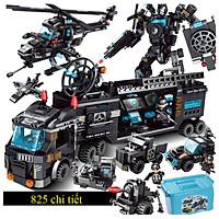 Bộ đồ chơi xếp hình cảnh sát KAVY NO.8807  với hơn 820 chi tiết với robot, máy bay, xe cảnh sát... kèm hộp đựng