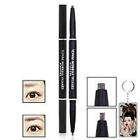 Chì kẻ chân mày Beauskin Crystal Eyebrow Pencil Hàn Quốc #01 Black tặng móc khóa