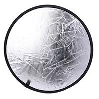 Hắt sáng tròn 2in1 size 60CM mặt trắng đục mặt bạc vải gân dày