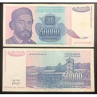 Tờ tiền cổ 50.000 dinara của liên bang Nam Tư Cũ, quốc gia không còn tồn tại, tặng kèm bao nilong bảo quản