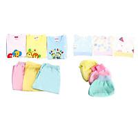 Combo 12 món đồ dùng cotton cao cấp cho bé từ 0-4 tháng tuổi
