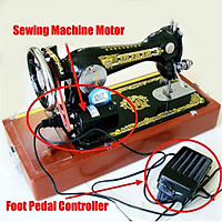 100W 220V 7000RPM Home Household Sewing Machine Motor 0.5 Amps Foot Pedal Controller Set