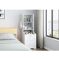 tủ đầu giường, kệ đầu giường loại 2 ngăn kéo có khóa, 3 ngăn để đồ thiết kế sang trọng, mặt gỗ phủ melamine chống thấm, chống xước, dễ lắp đặt, trang trí phòng ngủ, phòng khách màu ngẫu nhiên
