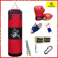 Vỏ Bao Cát Đấm Bốc 3 Lớp Cao Cấp – 8 Phụ kiện – Vỏ Bao Đấm Boxing Chính Hãng Amalife, Trụ Đấm Bốc Treo