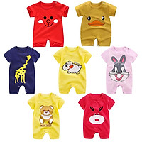 Infant Summer Cartoon Printing Short Sleeve Jumpsuit Button Open-Crotch Romper for Babies Toddlers