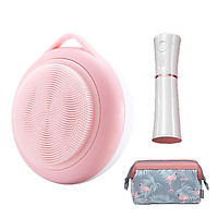 Combo sản phẩm dưỡng da - Bộ máy rửa mặt làm sạch da chuyên sâu và  máy xịt Khoáng tạo độ ẩm khuôn mặt mini - Tặng kèm 1 túi dựng đồ trang điểm họa tiết - Combo1