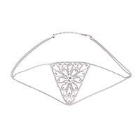 Women Rhinestone Mesh Body Chain Luxury Hollow Thong Bikini Underwear Golden