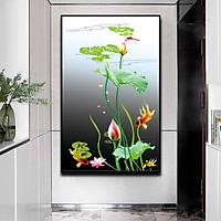 Tranh đơn canvas treo tường Decor Họa tiết đầm sen và cá vàng bơi lội - DC200