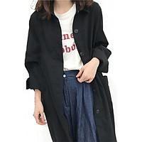 Trench Korean chic Women's Long Coat Split Fork Sleeve Fashion Simple Lapel Long Sleeve Single-breasted Trench Khaki Black Coat!