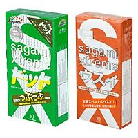 Bộ 2 Hộp Bao Cao Su Gân Gai Thắt Sagami Xtreme Green Và Bao Cao Su Siêu Mỏng Sagami Love Me Orange (20 Bao)