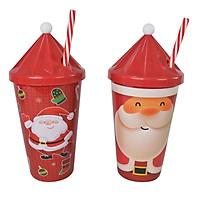 Ly Santa 500ml Kèm Ống Hút XK0014 Uncle Bills - Đồ Dùng Tiệc Giáng Sinh (Giao ngẫu nhiên)
