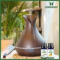 Combo máy khuếch tán/ máy xông tinh dầu bình hoa màu nâu FX2020 + tinh dầu sả chanh + tinh dầu cam Lorganic (10ml x2) LGN0185