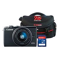 Combo: Máy ảnh Canon EOS M100 Kit 15-45mm (Đen) + Thẻ nhờ + Túi đựng máy ảnh - Hàng Chính Hãng