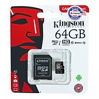 Thẻ Nhớ Micro SD Kingston 64GB Class 10 Có Adapter - Hàng Chính Hãng