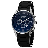 SKMEI 3ATM Water Resistant Analog Men Fashion Watch with 3 Decorated Sub-dial Wrist Watch with Alloy Silicone Watchband