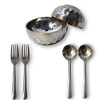Combo 2 muỗng, 2 nĩa, 2 chén inox cao cấp TMN01 – Gia dụng bếp
