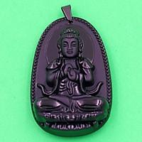 Mặt Phật Đại Nhật Như Lai thạch anh đen 3.6cm - phật bản mệnh tuổi Mùi, Thân - Mặt size nhỏ