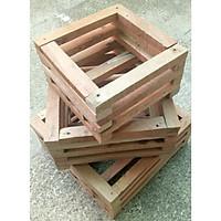 Combo ba Chậu gỗ trồng lan hình vuông